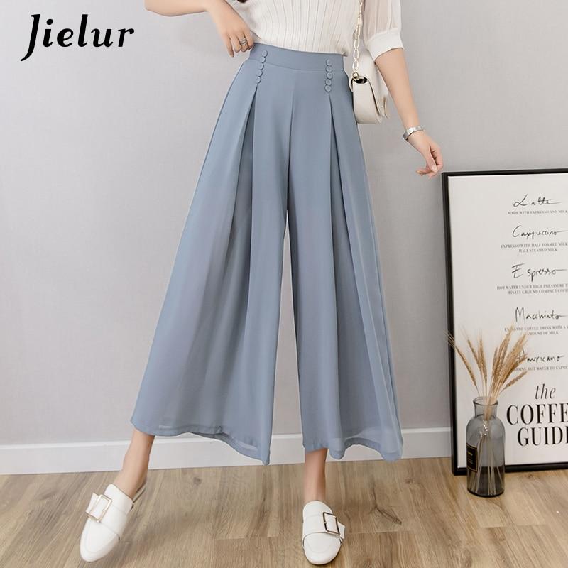 Jielur Chiffon   Wide     Leg     Pants   Women High Waist Summer Korean   Pants   Buttons Office Lady Roupas Loose Vintage Pantalon Femme S-XL