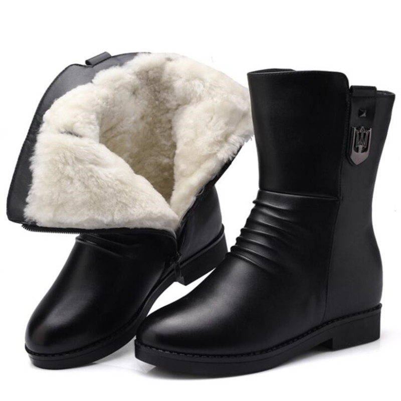 Most popular 2018 new fashion Winter boots fur one thick warm wool boots women shoes snow boots flat non-slip In-tube boots недорого