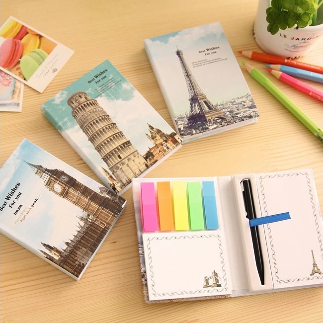 Europe Tour Sticky Note Stickers 1 PC Cute Memo With Pen Pocket Kawaii Adhesive Memo Pad infinite destiny in america photobook 50p memo note 100p 3 photo stickers release date 2013 10 18 korea kpop album