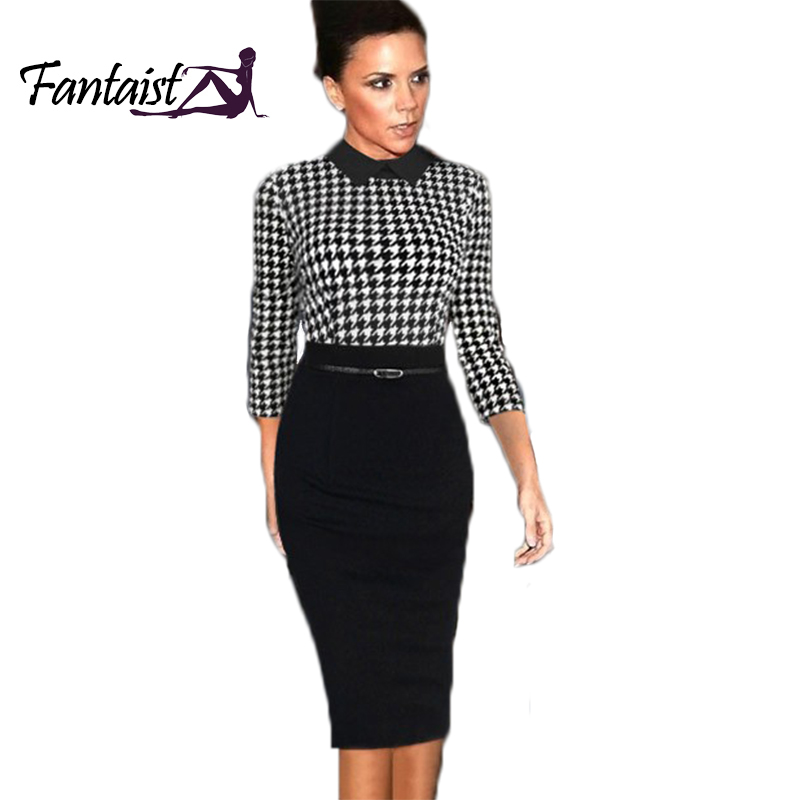 Buy Top Grade Women Celebrity Style Turn Down Collar Classic Plaid Tunic Formal
