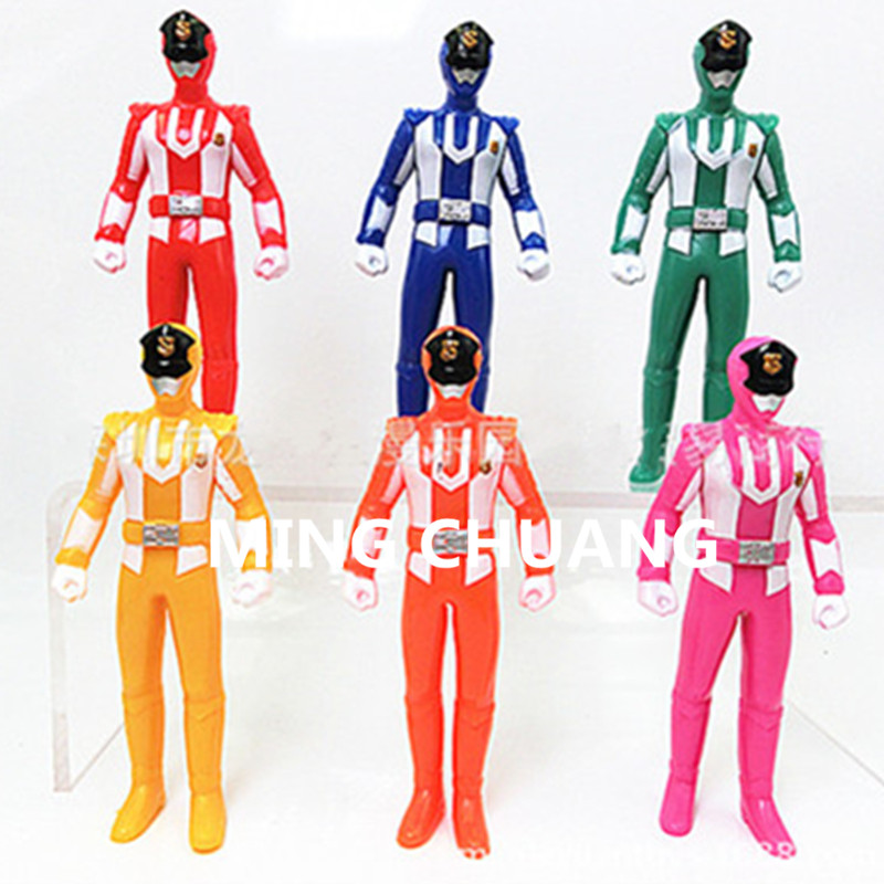 6set/Lot Superman Red Power Ranger Pink warrior Black soldiers Blue soldiers Yellow dress warrior Action Figure Toy 11CM D134