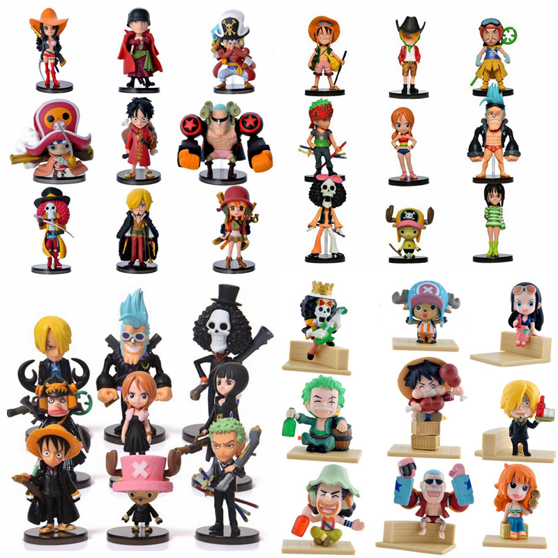 Anime One Piece PVC Action Figures Cute Mini Figure Toys Dolls Model Collection Toy Brinquedos 9 Piece Set Free Shipping free shipping hello kitty toys kitty cat fruit style pvc action figure model toys dolls 12pcs set christmas gifts ktfg010