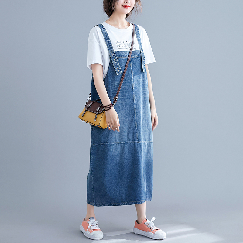 0406 Overalls Suspender Denim Dress Women Loose Plus Size Backless Spaghetti Strap Jeans Dress Female Vestidos Casual Summer in Dresses from Women 39 s Clothing