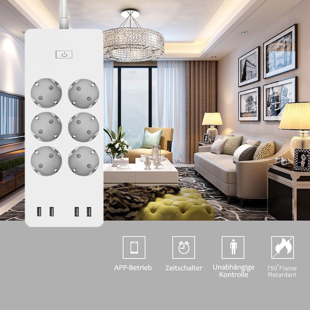 Image 5 - WiFi Smart Power Strip EU Surge Protector with 6 Socket 4 USB Port Smart Home Control Switch Compatible Alexa Google Assistant-in Smart Power Socket Plug from Consumer Electronics