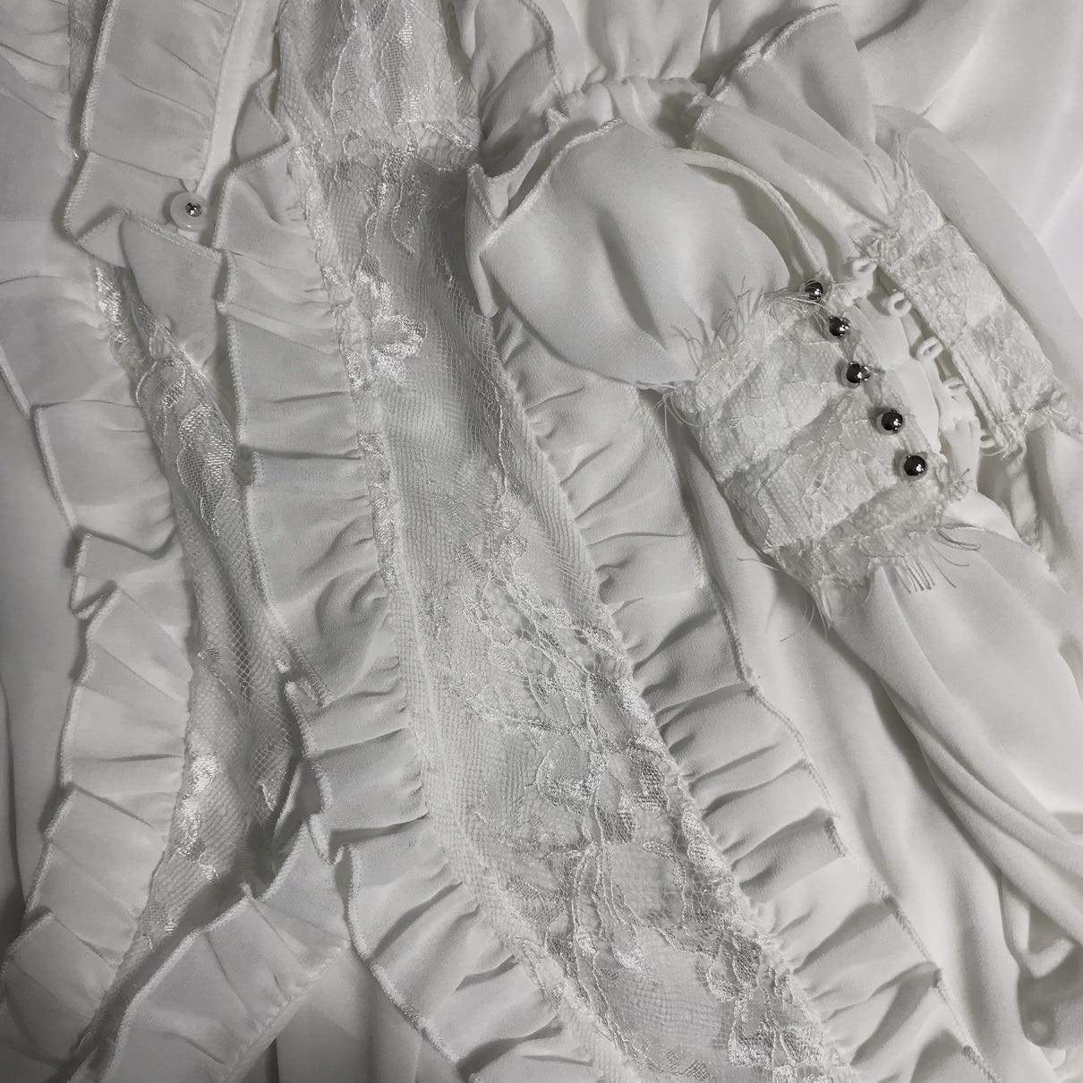 Livraison gratuite 2019 nouvelle mode noir et blanc dentelle chemises pour les femmes à manches longues Blouses royales imprimé hauts Bandage XS XL printemps - 5