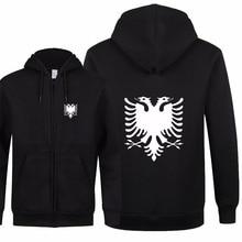 Nieuwe Mode Albanië Sweatshirts Herfst Vrouwen Mannen Rits Fleece Hoodies Slim Fit Streetwear Mannen & Jas Hoge Kwaliteit XS 2XL
