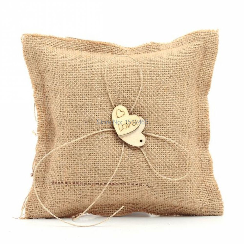 Hessian With Wooden Love Heart Rustic Country Wedding Burlap Ring Pillow  16*16cm Wedding Decorations