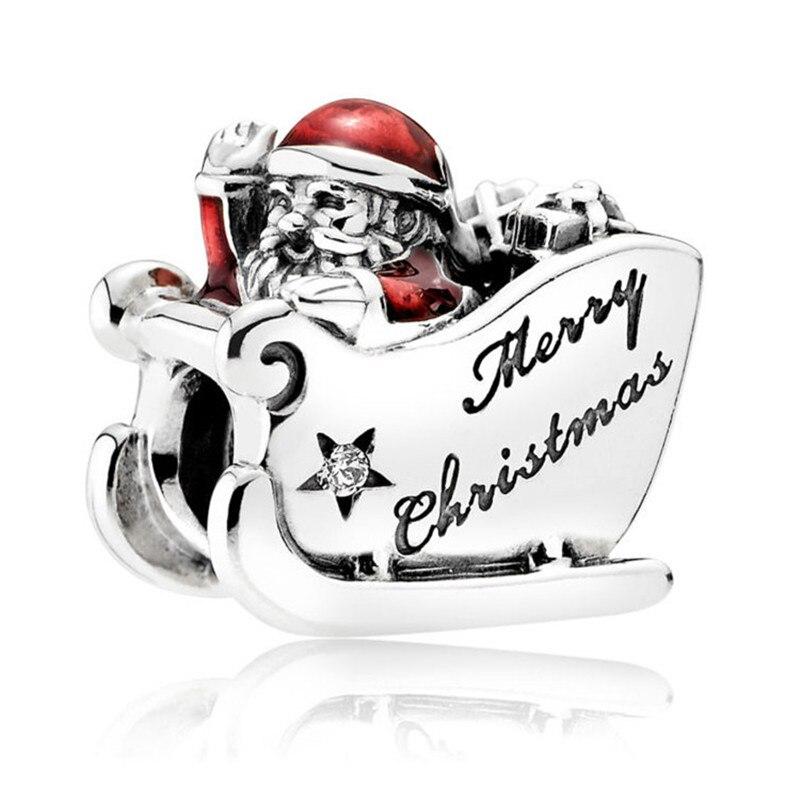 100% Authentic 925 Sterling Silver Bead Chrismas Sleighing Santa Charm Fit Pandora Bracelets Bangles Women Diy Jewelry Gift Crease-Resistance