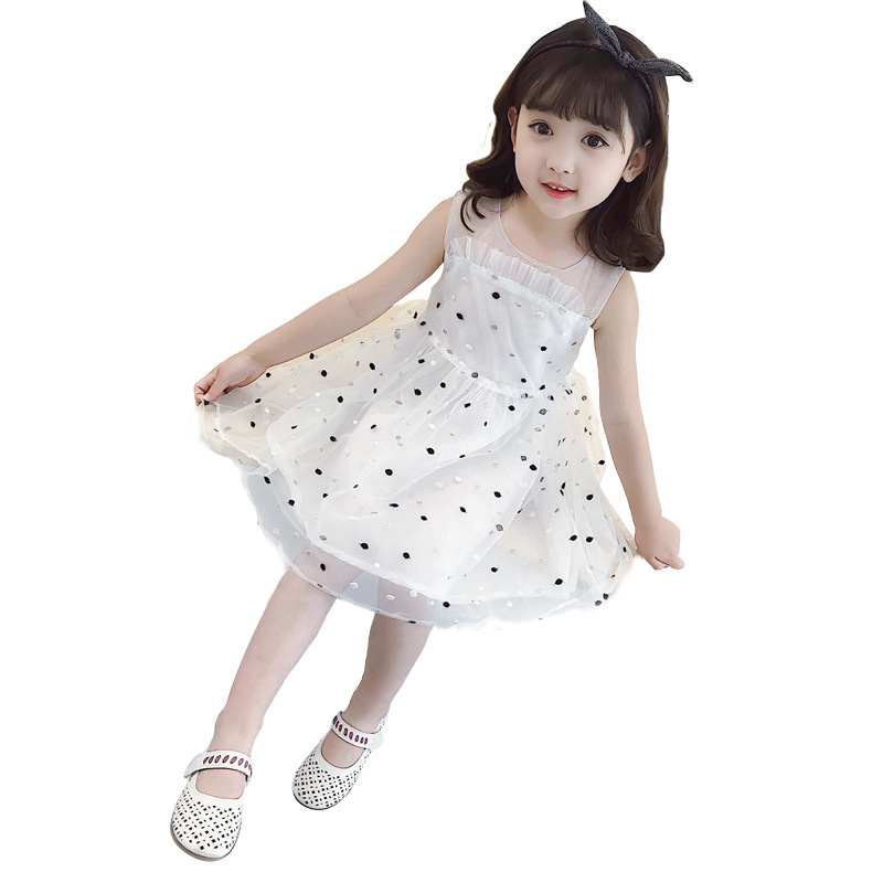 Girl's dress spring and summer 2018 new little girl Korean version sleeveless princess dress children's dress children's clothin summer baby girl s dress cloth cherry blossom korean version sleeveless vest dress princess bow tie vestido