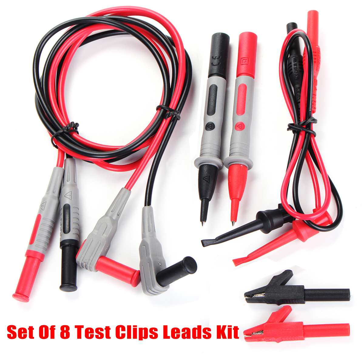 8Pcs/Set  Electronic Specialties Test Clips Leads Kit Banana Tester Probe Kit For Fluke Multimeter
