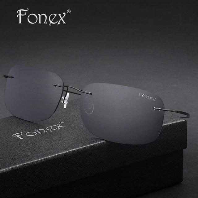 Fonex 2017 nova mulheres marca designer vintage cool men oval praça dos homens titanium sem aro óculos de sol unisex polarizadas óculos de sol