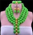 2016 special offer trendy contas mulheres africanas set jóias colar de moda de nova brincos de acrílico jóias finas três conjuntos de vestido