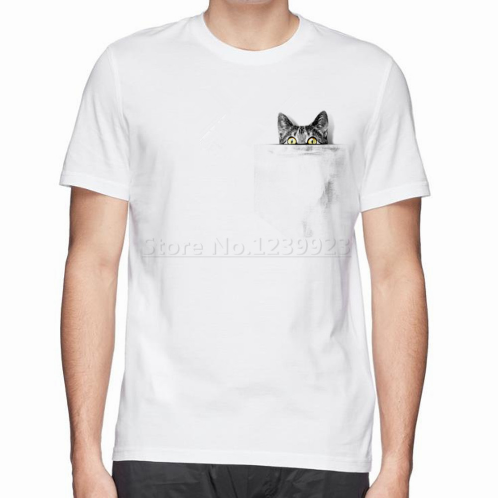 Design t shirt with pocket - Cool Design I Ve Got A Cat In My Pocket Men Hot T Shirt Cute Printed Cotton T Shirt