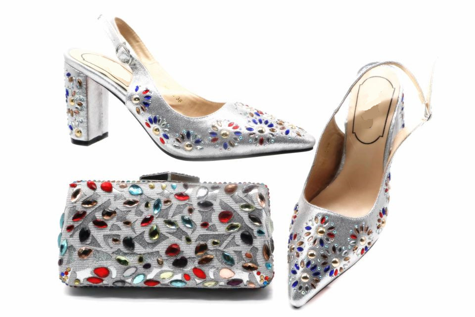 Hot sale silver women high heel shoes match handbag set with nice crystal decoration african pumps and bag for party dress X49Hot sale silver women high heel shoes match handbag set with nice crystal decoration african pumps and bag for party dress X49