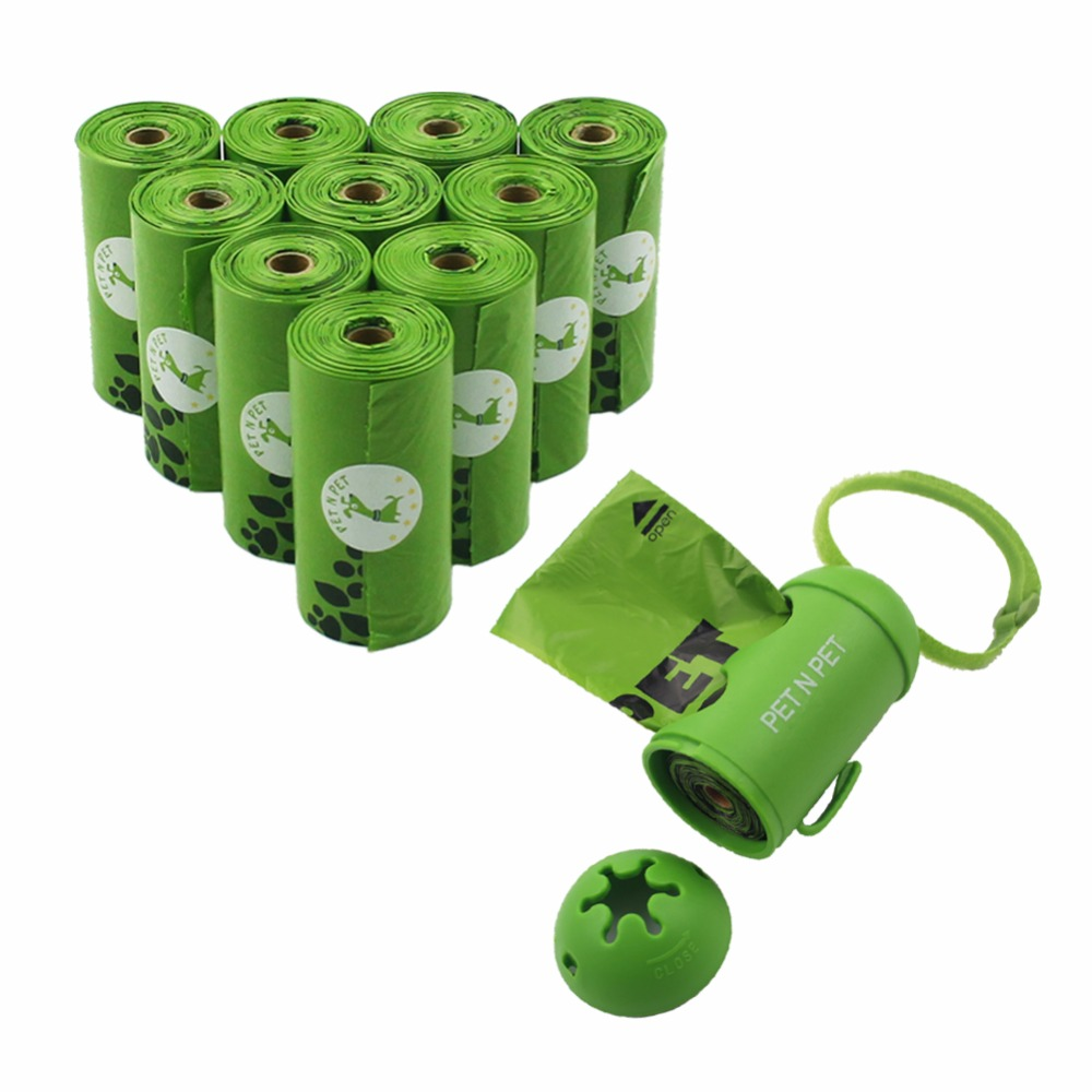 Dog Poop Bags Earth-Friendly 180 Counts 10 Rolls Oxo-Biodegradable Doggie Waste Bags Green Black Carrier bags With Dispenser