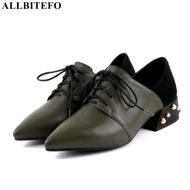 ALLBITEFO new fashion brand genuine leather thick heel women shoes comfortable low heeled office ladies shoes