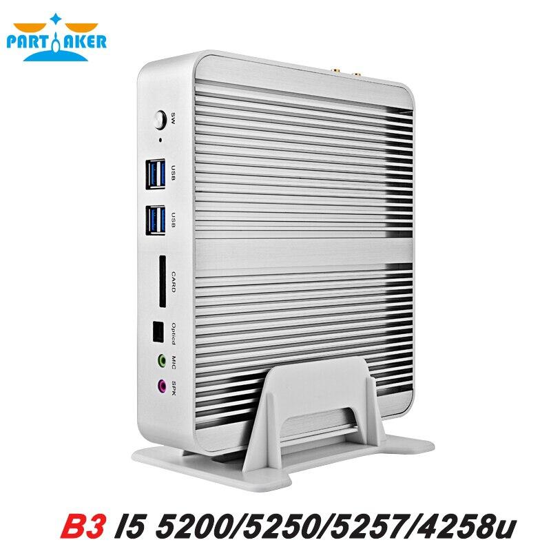 I5 5257U our of stock Fanless Barebone Mini PC Windows Broadwell CPU 4K HTPC Graphics Iris 6100 Optical+2*Nics+2*HDMI+300M Wifi