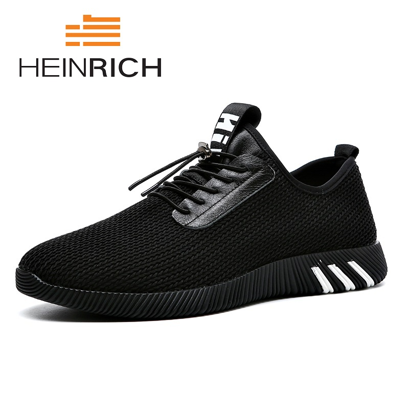 HEINRICH Summer High Quality Shoes Men 2018 New Mesh Shoes Breathable Sneakers Men Fashion Solid Leisure Shoe Sepatu Kulit Pria