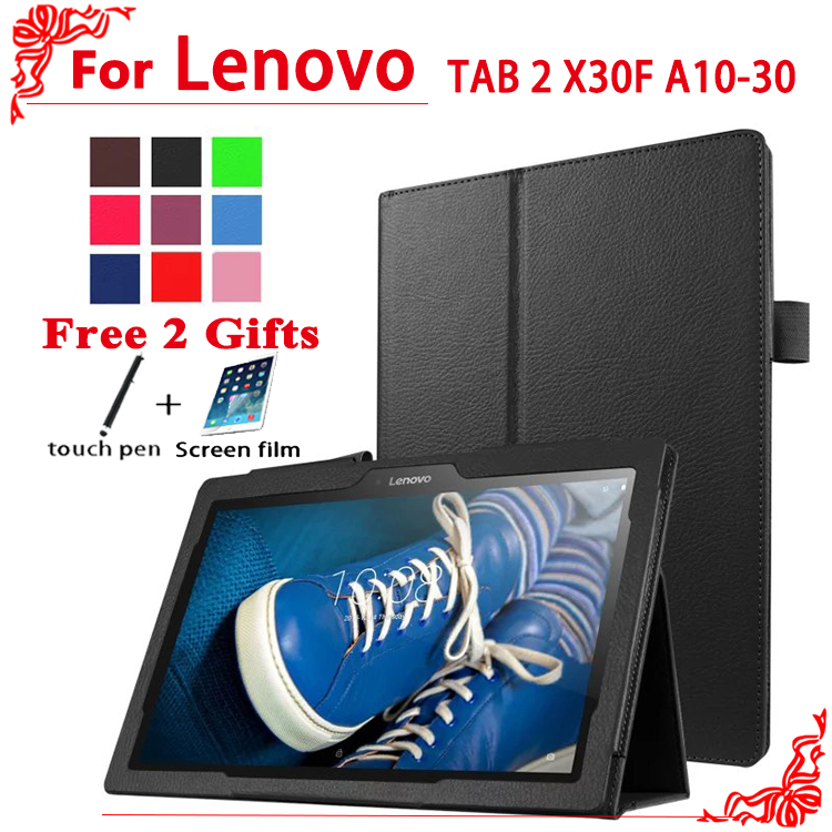 New Arrival Litchi PU Leather Case Flip Cover Case For Lenovo Tab 2 Tab2 A10 70F A10 30 x30 x30f A10 70c tablet +free 2 gifts|case for lenovo tab|case for tablet|lenovo tab case - title=