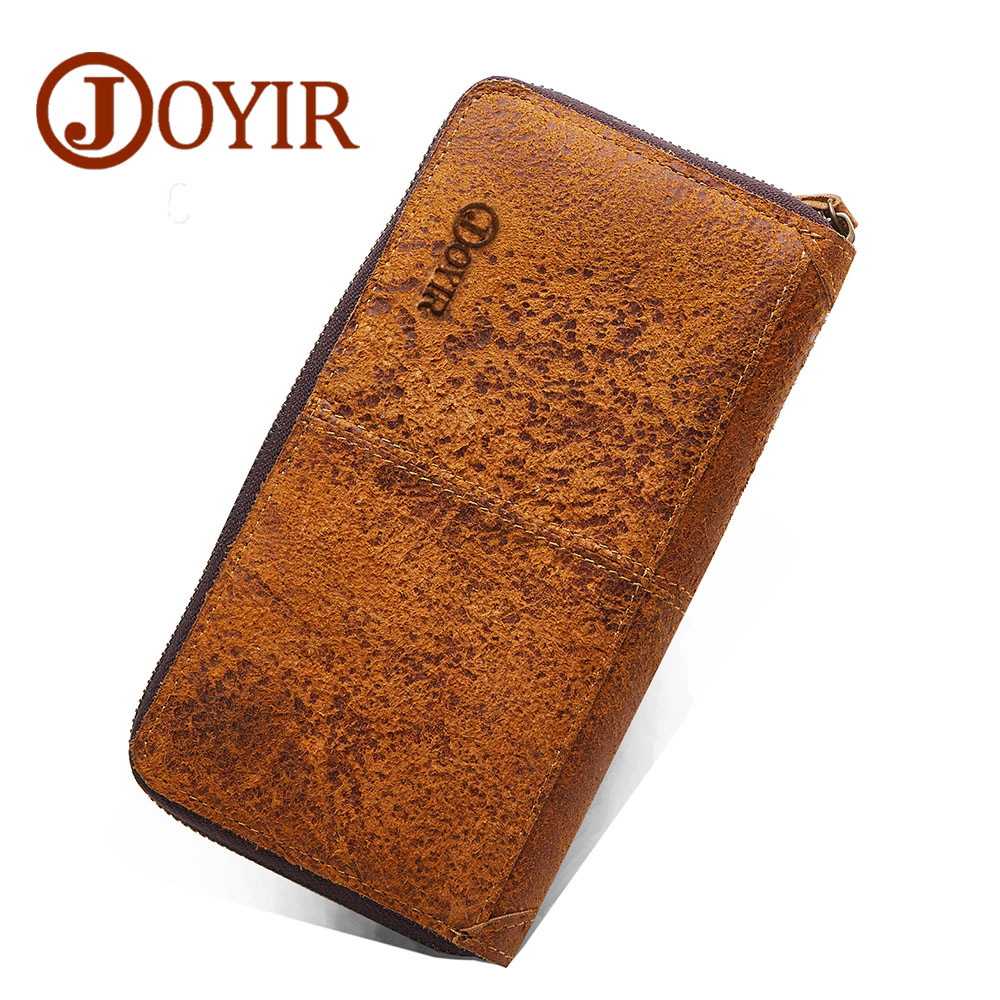 JOYIR Men Genuine Leather Wallet Men Wallets Card Holder Vintage Long Male Clutch Coin Purse Portomonee Carteira Hombre Perse westal genuine leather men wallets leather man short wallet vintage man purse male wallet men s small wallets card holder 8866