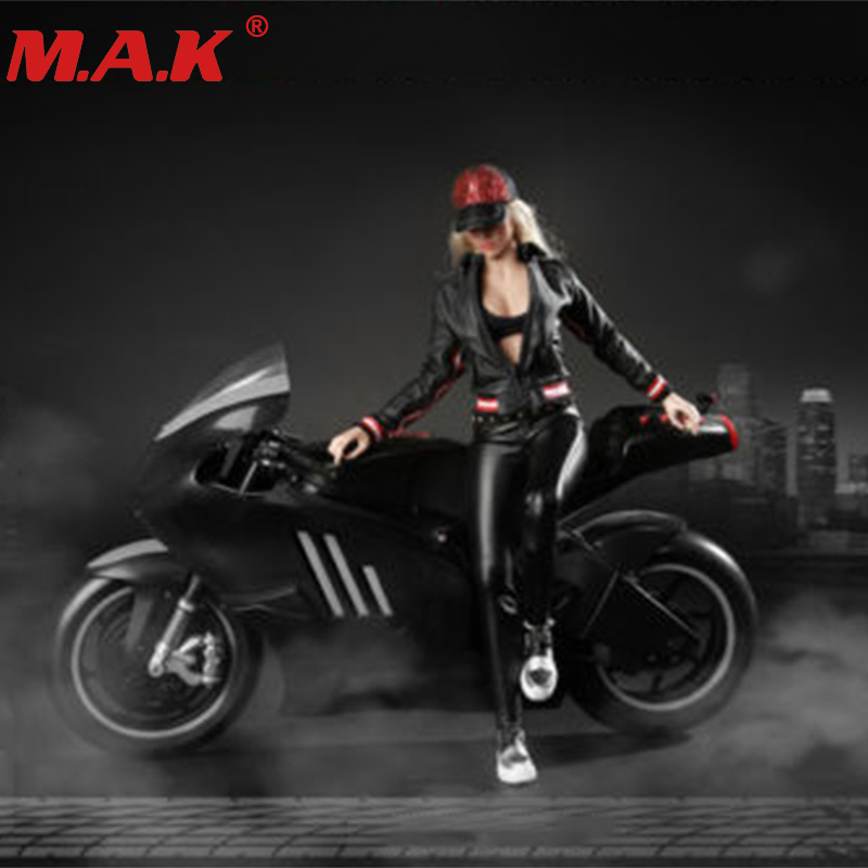 1:6 female girl sexy lady sports motorcycle bike rider clothes locomotive clothing set fit 12 inches woman action figure body