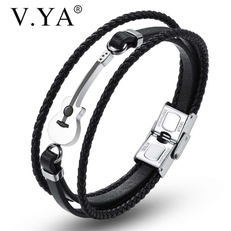 V.YA New Style Multilayer Leather Guitar Engraved Black Bracelets Customized Rope Chain Stainless Steel  Magnet Brown Bangle
