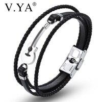 V YA nuevo multicapa, estilo de guitarra de cuero grabado pulseras negras Simple cadena de cuerda de acero inoxidable imán marrón brazalete
