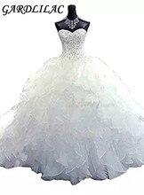 Купить с кэшбэком Gardlilac White Ball Gown Wedding dress Sweetheart Beaded Organza  Bridal Gowns  Vintage Sleeveless Wedding Dress for Bride