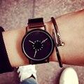 Marca de luxo Moda Casual relógios de pulso Unisex relógio Homens Cinta de Aço De Couro Minimalista Criativo Recém Projeto de Quartzo relogio