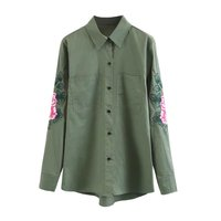 Embroidery Flower Army Green Safari Shirt Women Long Sleeve Blouse