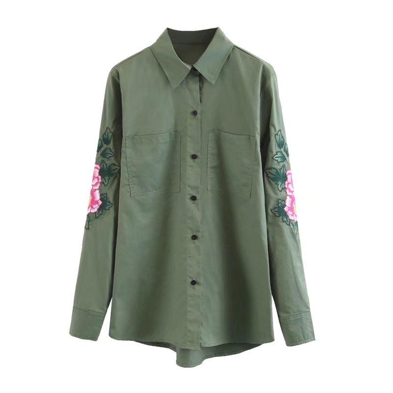 7d667326dfa0f Embroidery flower army green safari shirt women long sleeve blouse ...