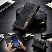 CaseMe Flip Samsung kılıfı Galaxy S10 S9 S8 Artı S10E Lüks Denim Tuval Cüzdan Kapak için Samsung Not 8 9 S6 s7 Kenar Kılıf