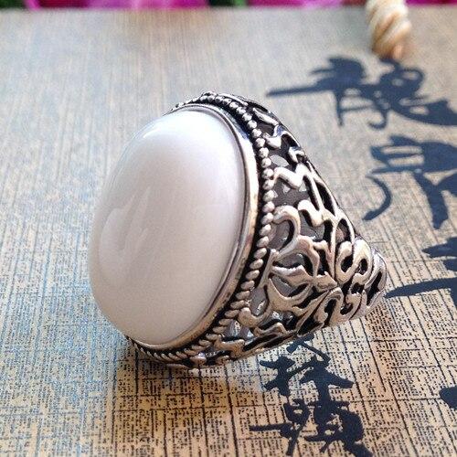 Bijoux fantaisie incrustés 925 bague en argent Sterling argent rétro cadeaux naturel pierre naturelle hommes anneau ouverture