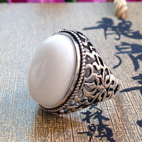 Fashion jewelry inlaid 925 Sterling Silver Ring Silver retro gifts natural Natural stone Mens Ring Opening