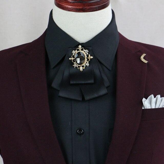 i-Remiel Bows Tie Bowknot Brooch Cloth Art Flower Rhinestone Ribbon Pins  And Brooches Dresses Suits Badge Cravat Men Groomsmen 7d00478c82c4