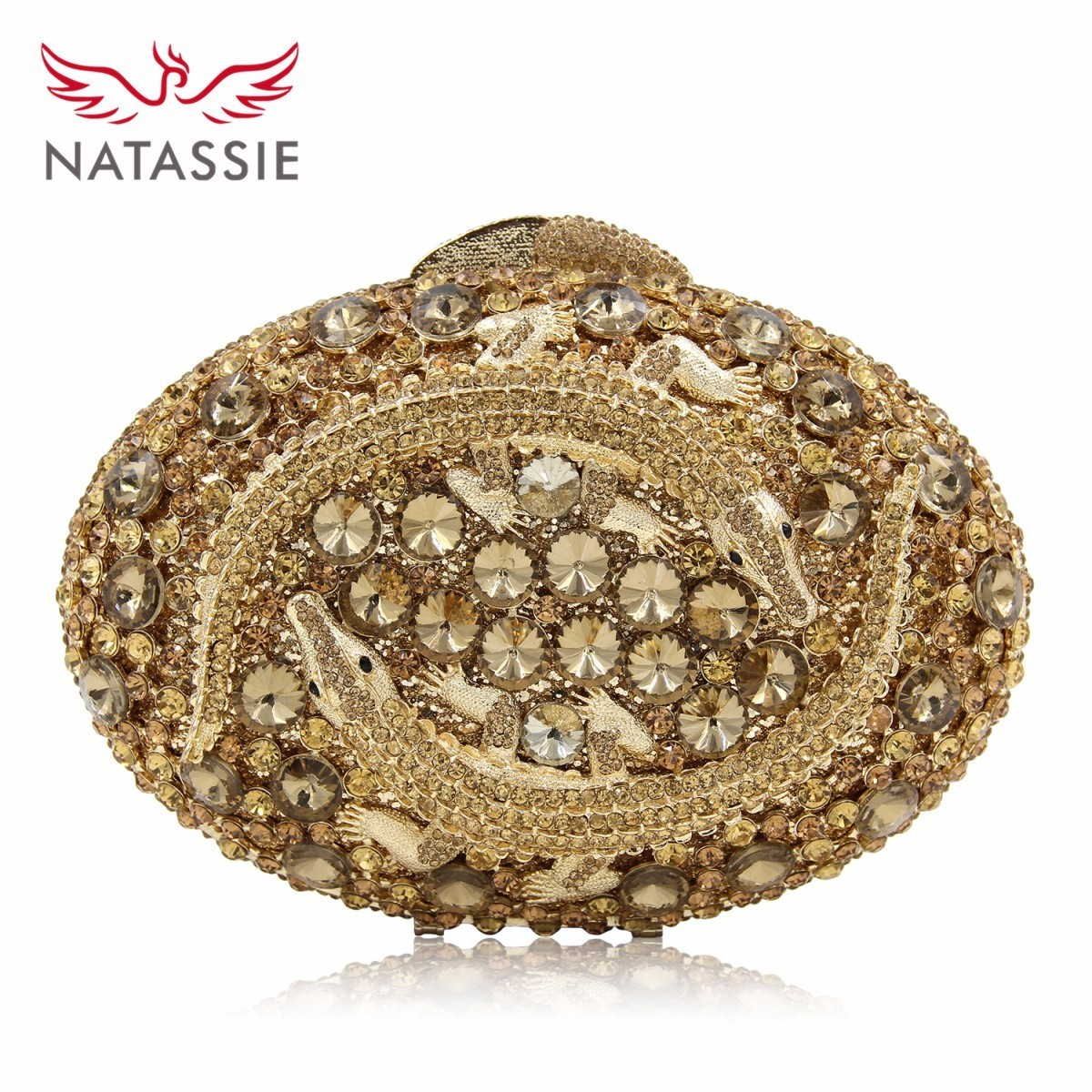 NATASSIE Women Luxury Crystal Clutch Evening Bag Two Crocodile Clutches Bag Hollow Out Party Purses Dark Gold natassie new design luxury crystal clutch women evening bag gold red ladies wedding banquet party purses good quality