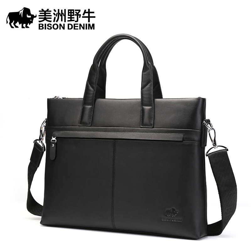 Brand BISON DENIM Handbag Men Briefcases Genuine Leather Shoulder Bags Tote Laptop Bags Men's Messenger Bag Business Travel Bag