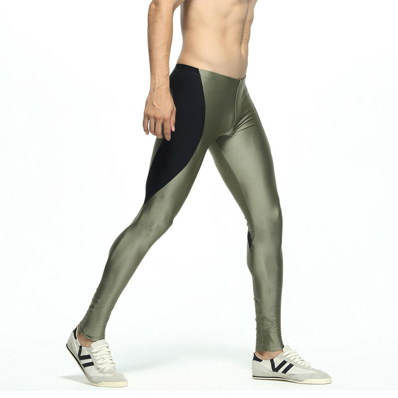 Men 39 s Patchwork Long Tight Pants Elastic Skinny Mallas Hombre Running Mens Compression Running Tights Vetement Running Homme in Running Tights from Sports amp Entertainment
