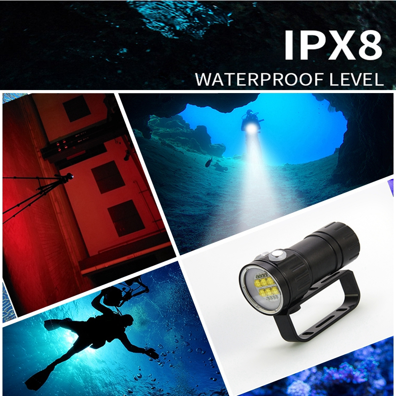 LED Flashlight Diving 18650 Underwater Photography Light 300W Underwater Lamp 500M Waterproof Super Bright LED Camera Light