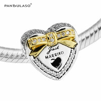 Pandulaso Just Married Crystal Charms For Women Jewelry Making Golden Bow Wedding Heart Fit Fashion DIY Bracelets Silver Jewelry