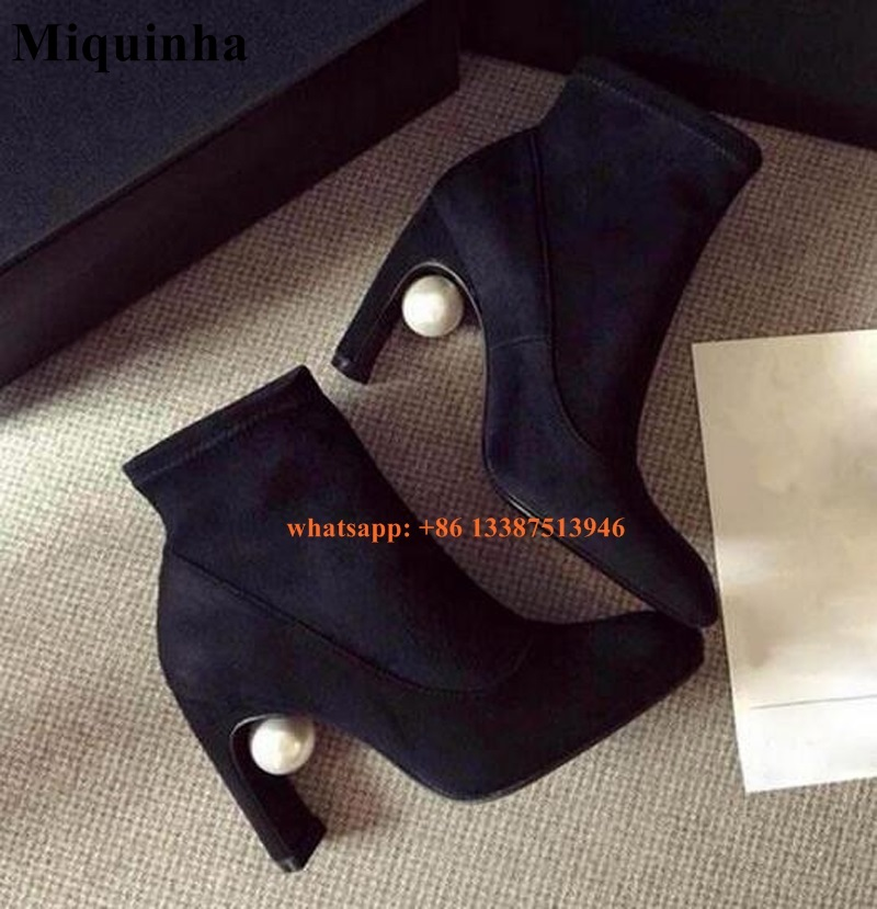 Autumn Winter Concise Big White Pearl Design Black Suede Short Boots Elegant Fashion Shoes Thick Heel Women Knight Ankle Boots autumn winter cool fashion black leather and suede spike heel short boots charming woman pointed toe ankle boots concise design