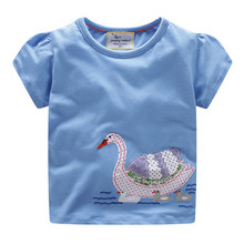 Hot Selling Baby Girls Cartoon T shirts Kids New Design Cotton Summer shirt with Applique Lovely Animals Top Quality Clothing