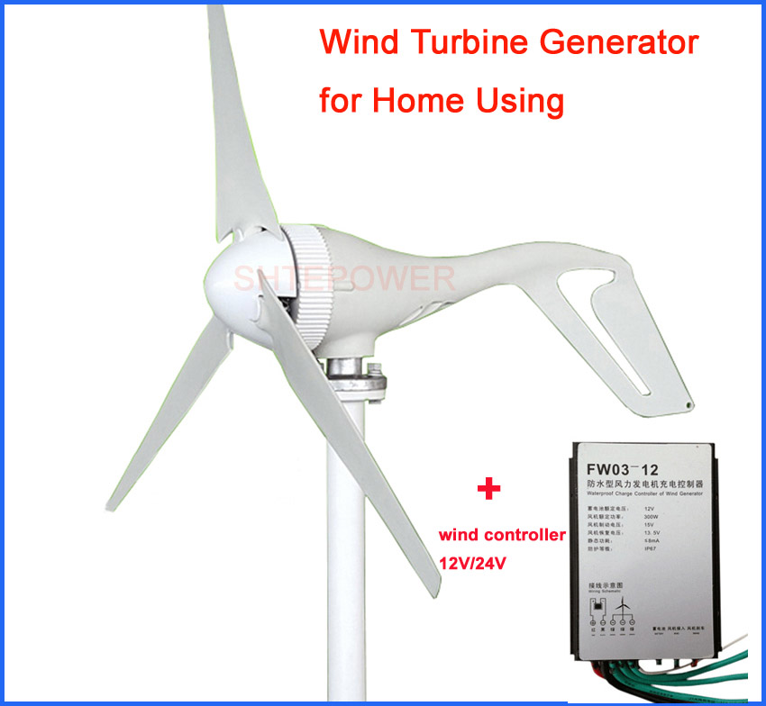 3 Blades 100W/200W/300W Wind Turbine Generator With Waterproof Charge Controller Wind Generator 3 phase 12V 24V 200w generator wind turbine generator max 300w 12v 24v 2 0m s low speed start 3 5 blade 650mm with 300w charge controller
