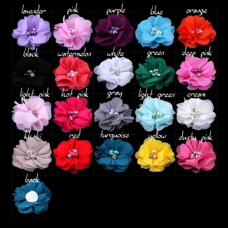 (100pcs/lot) 2 DIY Mini Chiffon Flowers with Pearl Rhinestone for Girls Accessories Baby Hair Flowers