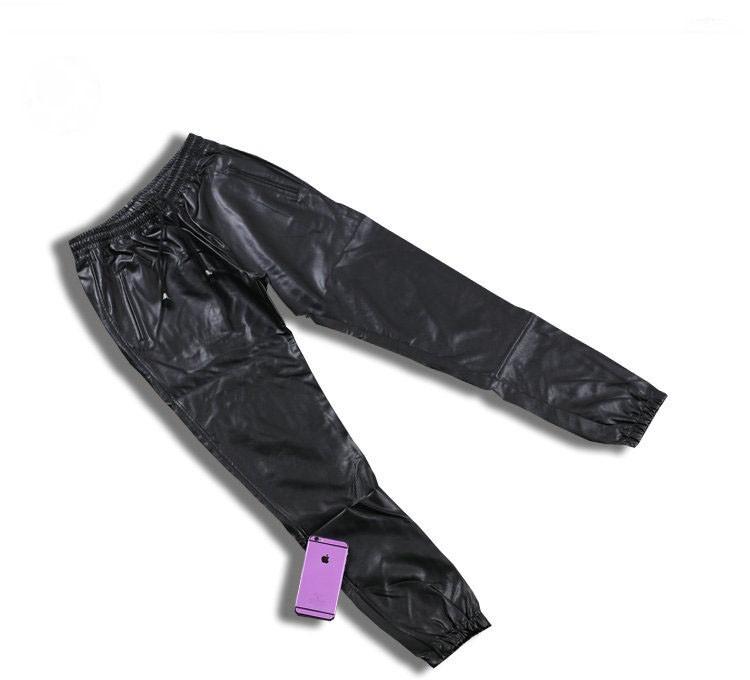 PU Leather Pants Men Elastic Waist Plus Size Side Zipper Hip Hop Leather Trousers Fashion Kanye West Justin Bieber Style Pants (2)