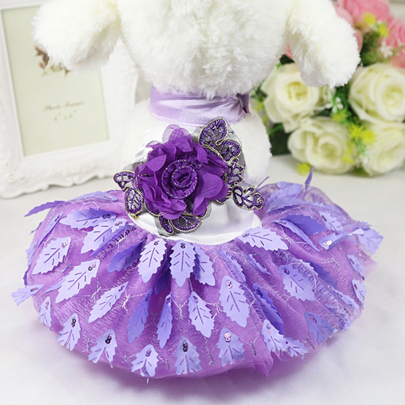 Fashion Red Dog Dresses Summer Chihuahua Dress For Little Dog Pet Skirt Princess Wedding Dress With Leaves Dog  Dress Clothes