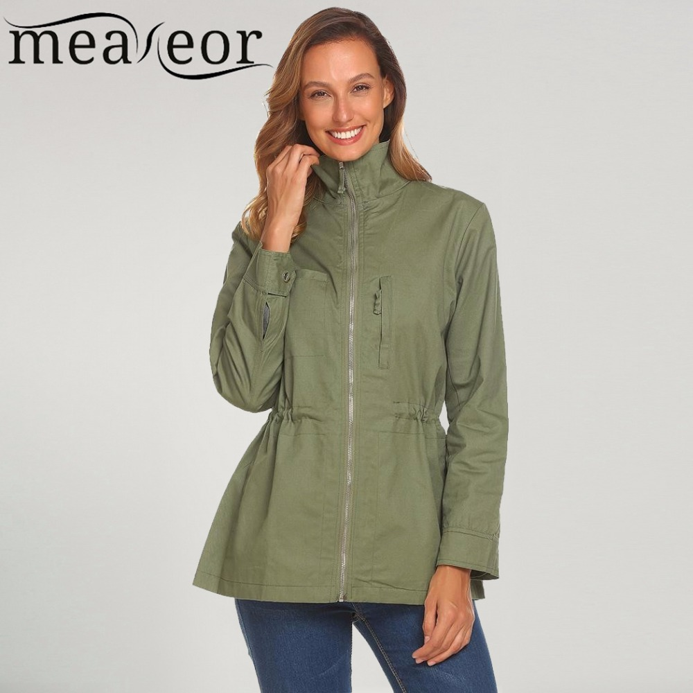 Meaneor Women 100% Cotton Jackets Casual Stand Neck Long Sleeve Zipper Lightweight Warm soft pockets Jacket 2017 new fashion