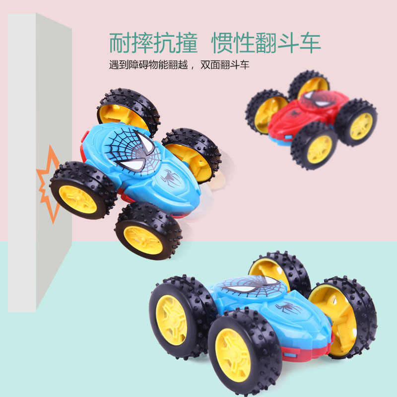 2018 new inertial double-sided dump truck resistant to falling 360 toy car turned to children's gift toys (random colors)
