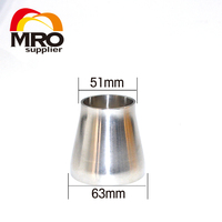 63mm to 51mm 2.5 to 2 Sanitary Weld Reducer Pipe Fittings SS304 Stainless Steel Weld Sanitary Fittings WR63 51