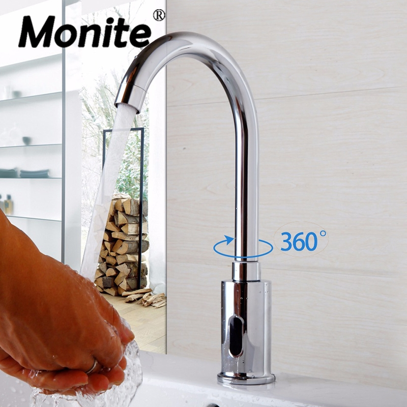 360 Swivel Bathroom Basin Sink Faucet Hot & Cold Water Mixer Tap Touch-Free Infrared Basin Tap Automatic Sensor Faucet